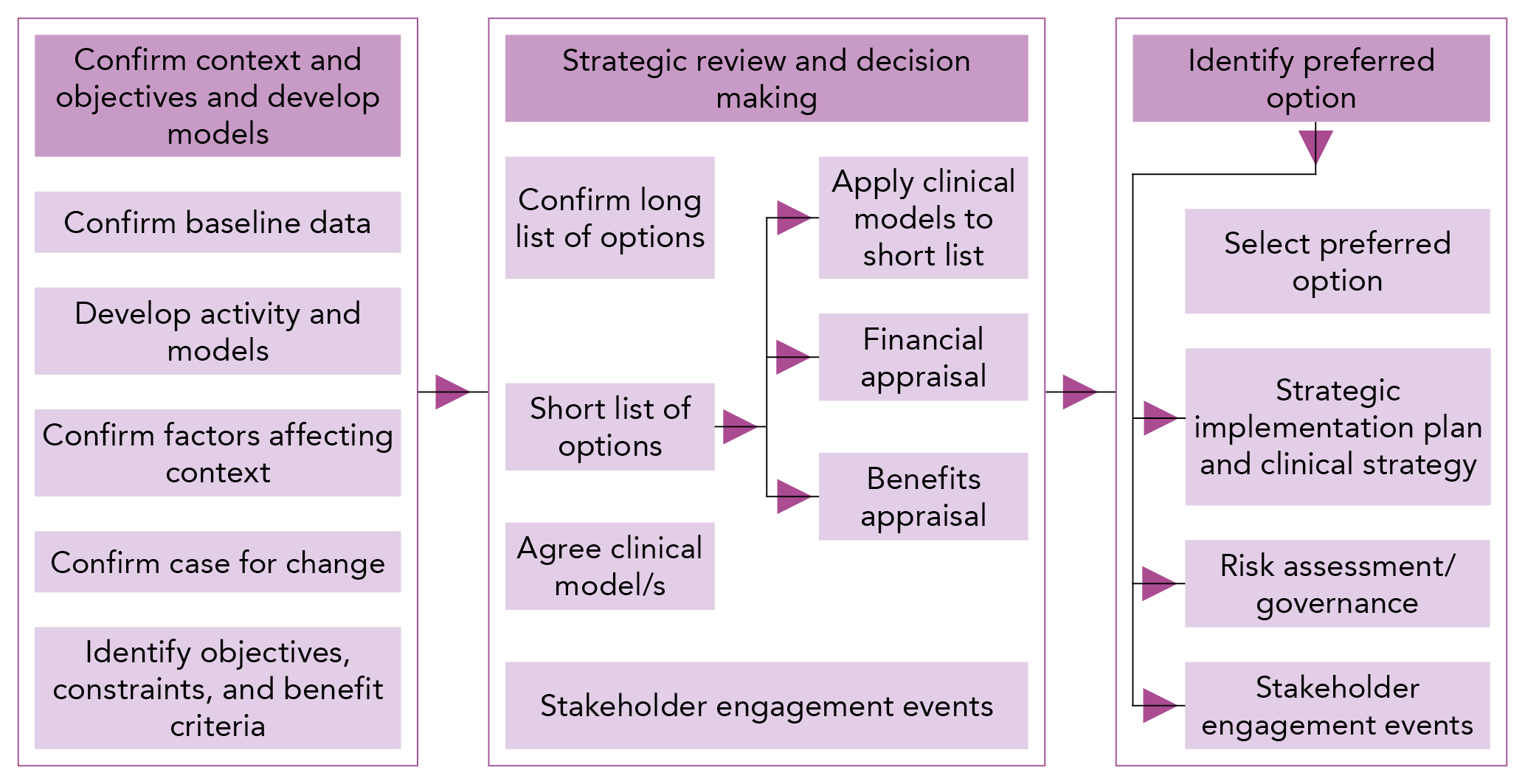a diagrammatic representation of the options appraisal process