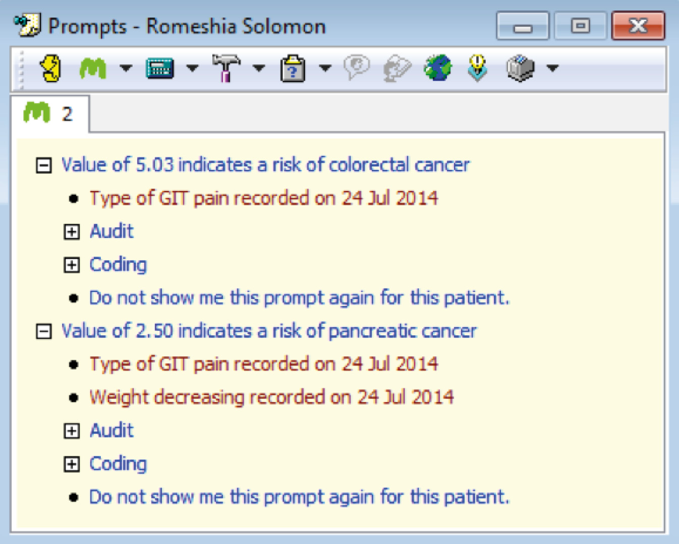Macmillan's cancer decision support tool cancer risk score prompt for colorectal tumour (dummy patient data displayed)