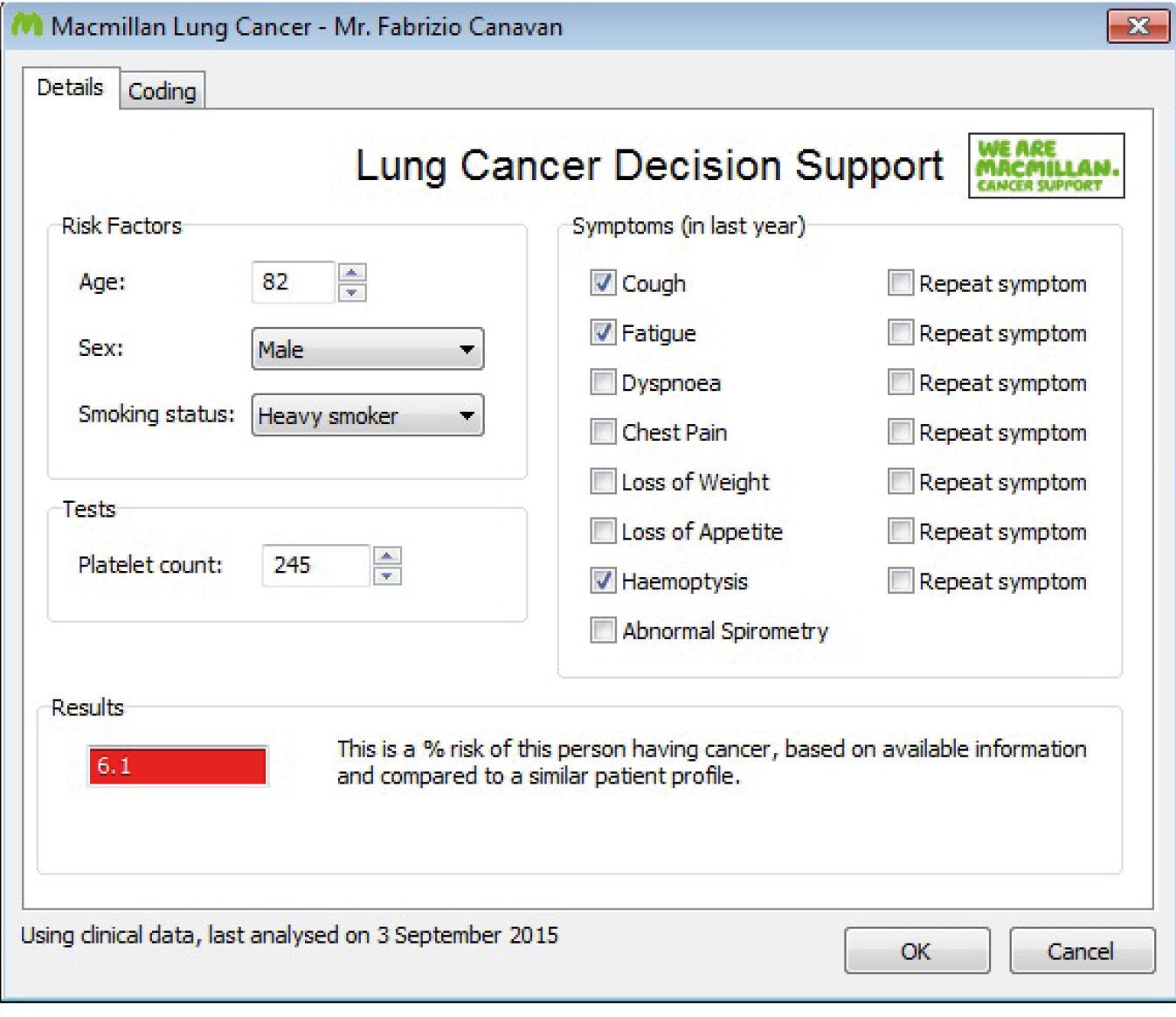 Macmillan's cancer decision support tool symptom checker template for lung cancer (dummy patient data displayed)