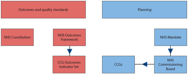 Flow of outcomes, standards, and planning guidance in the new NHS structures