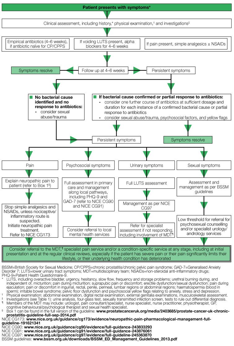 Algorithm for diagnosis and management of CBP and CP/CPPS