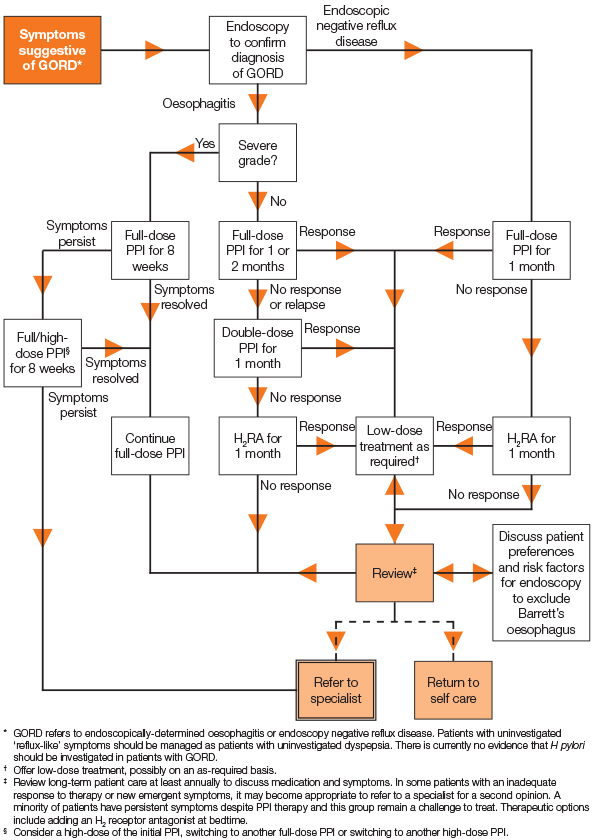 Flowchart for interventions for GORD
